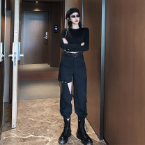 Casual pants 1801 overalls, 1801 + belt, 602 long sleeve top S,M,L,XL Autumn 2020 trousers Overalls High waist street routine 18-24 years old 81% (inclusive) - 90% (inclusive) other belt Hip hop