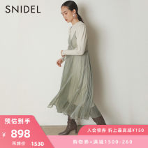 Dress Winter 2020 Black Mint Beige F longuette Two piece set Long sleeves commute V-neck High waist Solid color Socket A-line skirt routine camisole 25-29 years old SNIDEL SWNO205036 More than 95% other Other 100% Same model in shopping mall (sold online and offline)