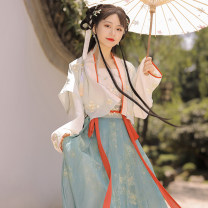 Hanfu 31% (inclusive) - 50% (inclusive) Summer 2020 It is available in stock with inner half lap top, outer half lap top, one piece waist length skirt, inner half lap top, outer half lap top, inner half lap top, outer half lap arm and one piece waist length skirt S,M,L,XL polyester fiber