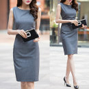 Dress Summer 2017 grey S M L XL 2XL Middle-skirt singleton  commute 25-29 years old Ol style zipper 30% and below polyester fiber Pure e-commerce (online only)