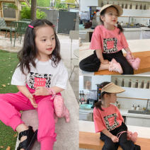 T-shirt White, pink, white second batch, pink second batch No.7 Tong Cang 80cm, 90cm, 100cm, 120cm, 130cm, 140cm, 150cm, 110cm (model size) female summer Short sleeve Crew neck leisure time There are models in the real shooting nothing other other SKC2181