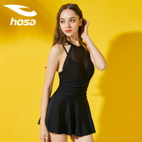 one piece  Hosa / Haosha M,L,XL,XXL Black, dark green Skirt one piece Steel strap breast pad Nylon, spandex female Sleeveless Casual swimsuit Solid color Hollowing out
