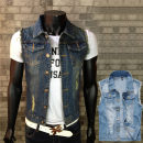 Vest / vest Fashion City Tang Ku Other leisure Self cultivation Vest routine Four seasons Lapel youth 2017 tide Solid color Single breasted Slant hem cotton hole Rough edge nothing Denim Digging bags with lids 90% (inclusive) - 95% (inclusive)
