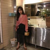 skirt Autumn 2020 S, M black Mid length dress commute High waist Other / other Korean version