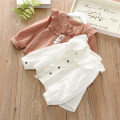 shirt White, coral Zhou dada female 100cm,110cm,120cm,130cm,140cm spring and autumn Long sleeves Korean version Solid color other Lapel crew neck C139015 Class B
