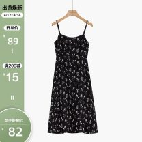 Dress Autumn 2020 Yellow flower dress with black background S,M,L Mid length dress singleton  Sleeveless commute square neck High waist Broken flowers Socket A-line skirt routine camisole 25-29 years old Type A Other / other Korean version 2008I-1715 More than 95% other other