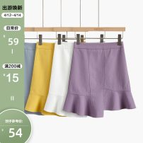 skirt Summer 2020 XL,L,M,S Short skirt commute High waist Ruffle Skirt Solid color Type A 18-24 years old More than 95% other Other / other other Korean version 601g / m ^ 2 and above