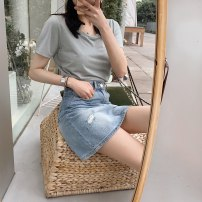 skirt Summer 2020 XS,S,M,L,XL Short skirt commute Denim skirt 25-29 years old Pumpkin Valley