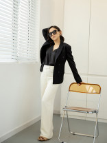 Casual pants milky white 25,26,27,28,29,30 Spring 2021 trousers Wide leg pants Natural waist street routine 96% and above Tang Town silk silk Europe and America