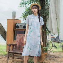 Dress Summer 2020 Decor S,M,L Mid length dress singleton  Short sleeve commute stand collar Loose waist Decor Three buttons A-line skirt routine Others 25-29 years old Type A Far town Retro Tassels, buttons, prints S20l27 light rain More than 95% other hemp