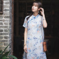 Dress Summer of 2019 Blue short sleeves, blue long sleeves S,M,L,XL Mid length dress singleton  Short sleeve commute stand collar Loose waist Decor Socket A-line skirt routine Others 30-34 years old Type A Retro Button, print More than 95% other hemp