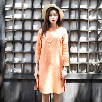 Dress Fall 2017 Green, pink, orange, pink - quarter sleeve, pink - quarter sleeve, orange - quarter sleeve S,M,L Mid length dress singleton  Long sleeves commute Crew neck middle-waisted Solid color Single breasted other routine Others 30-34 years old Type A Far town Retro More than 95% hemp