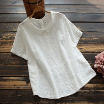 shirt Red, white, navy Average size Summer 2021 cotton 96% and above Short sleeve commute Regular Doll Collar Socket routine Solid color 30-34 years old yoko girl Korean version Hollow out, embroidery cotton
