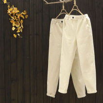 Casual pants Beige, light Khaki M,L,XL Spring 2021 trousers Straight pants High waist commute routine 25-29 years old 96% and above yoko girl cotton Simplicity pocket cotton