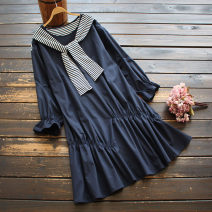 Dress Spring 2021 navy blue Average size Middle-skirt singleton  Long sleeves commute Crew neck Loose waist Solid color Socket A-line skirt Lotus leaf sleeve 30-34 years old Type A yoko girl literature Frenulum 81% (inclusive) - 90% (inclusive) other cotton