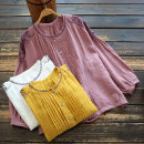 shirt Purplish red, white, yellow Average size Spring 2021 cotton 51% (inclusive) - 70% (inclusive) Nine point sleeve commute Regular stand collar Single row multi button routine Solid color 30-34 years old yoko girl Retro Embroidery Cotton and hemp
