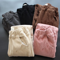Casual pants Black, gray, brown, pink, beige M,L,XL,2XL,3XL Winter 2020 trousers Straight pants Natural waist commute thickening 96% and above yoko girl corduroy Korean version pocket cotton