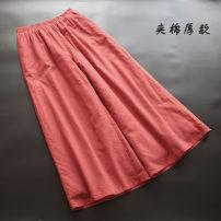 Casual pants Black, coffee, orange, green Average size Winter 2020 trousers Wide leg pants Natural waist commute thickening 30-34 years old 51% (inclusive) - 70% (inclusive) yoko girl hemp literature hemp