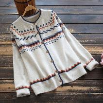 Wool knitwear Spring 2021 Average size Long sleeves singleton  Cardigan nylon 30% and below Regular routine commute easy Low crew neck routine Single breasted literature 30-34 years old yoko girl