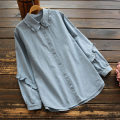 shirt Denim blue Single code Spring 2021 cotton 96% and above Long sleeves commute Regular Single row multi button routine Solid color 25-29 years old Straight cylinder yoko girl Korean version