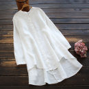 shirt White, blue, pink Average size Spring 2021 hemp 96% and above Long sleeves commute Medium length stand collar Single row multi button routine Solid color 30-34 years old yoko girl Retro Embroidery hemp