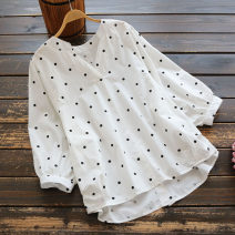 shirt Single size (loose) Summer 2020 cotton 96% and above elbow sleeve commute Regular V-neck Socket routine Dot 25-29 years old yoko girl Korean version Button
