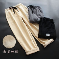 Casual pants Khaki, grey, black Average size Winter 2020 trousers Haren pants Natural waist commute thickening 30-34 years old 96% and above yoko girl cotton Simplicity cotton