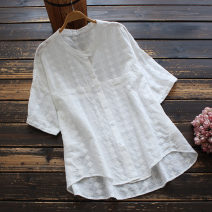 shirt white Average size Summer 2021 cotton 96% and above Short sleeve commute Regular stand collar Single row multi button routine Solid color 30-34 years old yoko girl literature Embroidery cotton