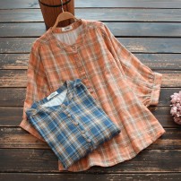 shirt Red and white grid, blue grid, orange grid Single code Summer 2021 cotton 96% and above Short sleeve commute Regular stand collar Socket bishop sleeve lattice 30-34 years old yoko girl Korean version Button cotton