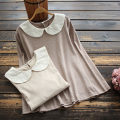 T-shirt Khaki, light coffee Average size Spring 2021 Long sleeves Doll Collar Straight cylinder Regular routine commute cotton 71% (inclusive) - 85% (inclusive) 30-34 years old literature yoko girl Embroidery