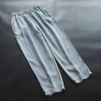 Jeans Summer 2020 Light denim blue M,L,XL Ninth pants Natural waist Straight pants Thin money 30-34 years old Multiple pockets Thin denim light colour yoko girl 96% and above