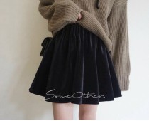 skirt Spring of 2018 S M Vermilion olive green black Short skirt Natural waist Pleated skirt Solid color Type A Other / other