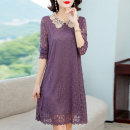 Dress Autumn 2020 Black, pink, purple L,XL,2XL,3XL,4XL Mid length dress singleton  Long sleeves commute Doll Collar Loose waist Solid color Socket A-line skirt routine Others 35-39 years old Type A Korean version Crochet, cutout, stitching, button, lace 81% (inclusive) - 90% (inclusive) Lace nylon