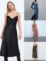 Dress Spring 2021 Black, blue, green, pink XS,S,M,L longuette singleton  Sleeveless commute V-neck middle-waisted Solid color Socket A-line skirt routine camisole 25-29 years old Type A Etj (women's wear) Retro backless 31% (inclusive) - 50% (inclusive) Silk and satin polyester fiber