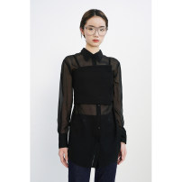 shirt (class I) black XS,S,M,L,XL Spring 2021 silk 96% and above Long sleeves commute Regular square neck Single row multi button Solid color Straight cylinder Xijia Simplicity real silk