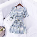 Dress Summer of 2019 Blue and white with belt, blue and white without belt Average size Mid length dress Short sleeve Crew neck World works