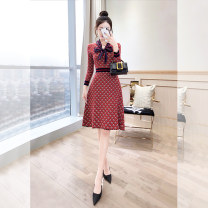 Dress Spring 2021 gules S,M,L,XL,2XL Mid length dress singleton  Long sleeves commute stand collar High waist Decor Socket A-line skirt bishop sleeve 25-29 years old Type A Justvivi style lady Bowknot, patch, fold, lace up, stitching, 3D, printing Q00002539 knitting