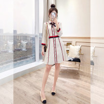 Dress Spring 2021 Apricot S,M,L,XL Middle-skirt singleton  three quarter sleeve commute Polo collar High waist stripe Single breasted A-line skirt routine 25-29 years old Type A Justvivi style lady Stickers, folds, stitching, three-dimensional decoration, buttons, zippers