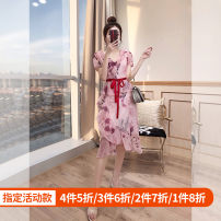 Dress Summer 2021 Pink S,M,L,XL Middle-skirt singleton  Short sleeve commute V-neck High waist Decor Irregular skirt routine 25-29 years old Type A Justvivi style lady Ruffle, fold, auricle, lace, stitching, three-dimensional decoration, asymmetry, zipper, printing Q00003578