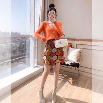 Fashion suit Spring 2021 S,M,L,XL Orange, T-shirt, skirt 25-35 years old Justvivi style T00006500