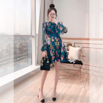 Middle aged and old women's wear Spring 2021 green commute Dress Self cultivation singleton  Decor Socket moderate other pagoda sleeve Justvivi style Embroidery Middle-skirt other lady