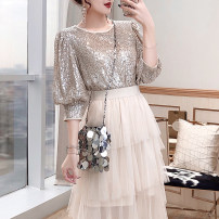 T-shirt Apricot S,M,L Summer 2021 three quarter sleeve Crew neck Straight cylinder Regular puff sleeve commute other 86% (inclusive) -95% (inclusive) 25-29 years old lady other Solid color Justvivi style C00005367 Sequins