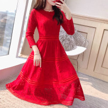 Dress Spring 2021 gules S,M,L,XL,2XL Mid length dress singleton  Long sleeves commute Crew neck middle-waisted Solid color Socket A-line skirt routine 25-29 years old Type A Justvivi style Korean version Lace