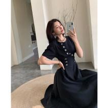 Dress Summer 2020 black S,M,L longuette singleton  Short sleeve commute Crew neck High waist