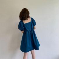Dress Summer 2020 Black, blue S,M,L,XL longuette singleton  Short sleeve commute square neck High waist Solid color Socket A-line skirt routine Type A