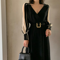 Dress Spring 2020 black S,M,L longuette Long sleeves commute V-neck High waist Solid color Others Type H