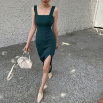 Dress Spring 2020 green S,M,L Mid length dress singleton  Sleeveless square neck High waist Solid color