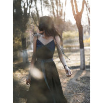 Dress Summer 2021 S,M,L longuette commute Socket Big swing camisole Type A Simplicity More than 95% Denim hemp