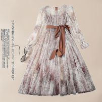 Dress Spring 2021 Picture color S,XL,L,M Mid length dress singleton  Long sleeves commute Crew neck High waist Decor zipper Big swing pagoda sleeve Others 30-34 years old Type X Other / other Printing, splicing other polyester fiber