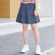 Women's large Summer 2021 Denim blue stock, denim blue T1,T2,T3,T4,T5,T6 skirt singleton  commute Self cultivation moderate Socket Solid color lady Cotton, others T2103128 MS she / mu Shan Shiyi 25-29 years old zipper 96% and above Short skirt